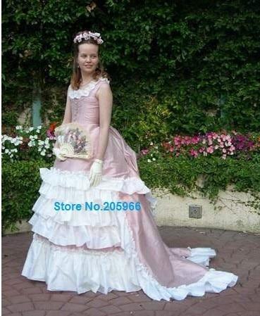 Custom Taffetas Manches Rose Color 1870 Tôt De Mariage Soie Party Dress Sans Made Robe S Agitation Bal Tea 4j35ARLq