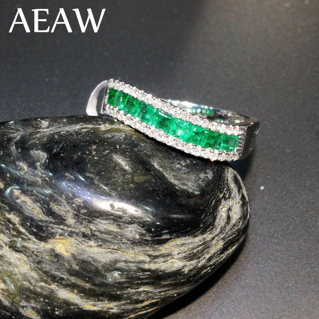 AEAW Colombian Green Emerald Princess Lab created Gemstone Solitaire with Moissanite Enagement Ring 14k White Gold Fine Ring