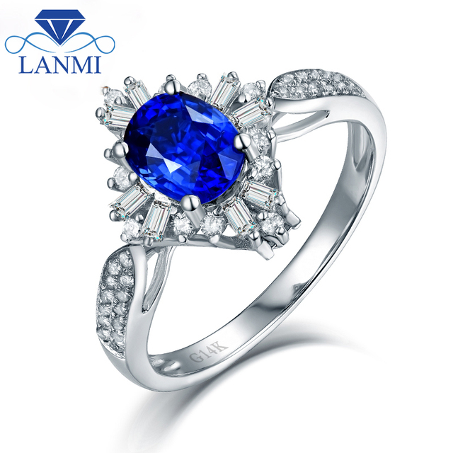0c11e5c9c Dual Style Natural Blue Sapphire Rings Real 14K White Gold Round Baguette  Diamond for Mother Thanksgiving Day Fine Jewelry Gift
