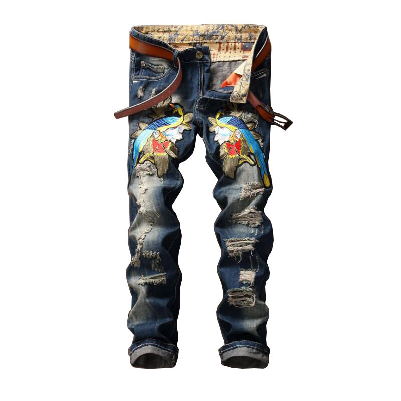 2016 Fashion Mens Skinny Ripped Jeans Distressed Animal Printed Jeans P6034