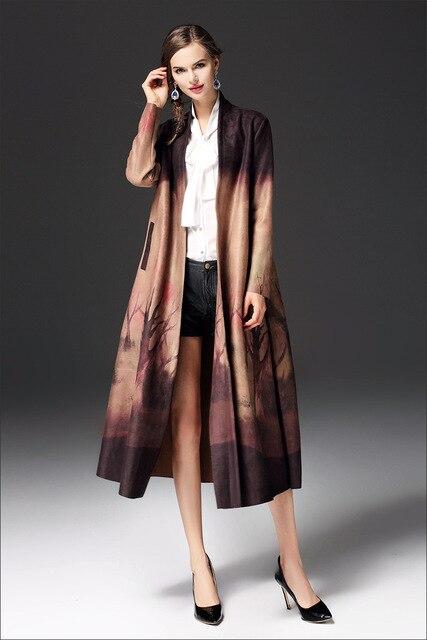 2017 phụ nữ dài Suede trench coat với vành đai mùa thu Áo Gió Slim in dài quần áo coat cardigan