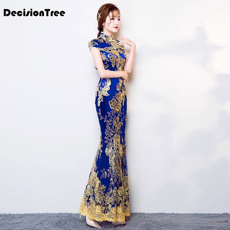 2020 Chinese Traditional Dress Women's Slim Cheongsam Embroidery Sequins Modern Oriental Long Qipao Evening Dresses