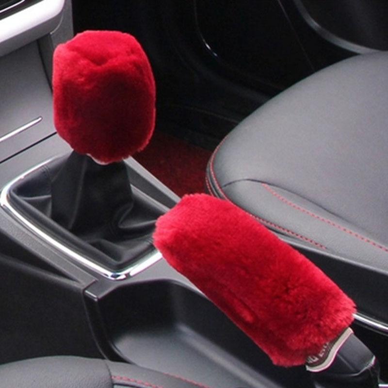 Universal Manual Car Gear Shift Cover Shifter Lever Collar Knob Hand Brake Grip Microfiber Short Wool Truck Car Accessories