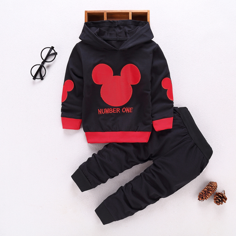 Informal Youngsters Sport Fits Spring Child Clothes Units Kids Boys Women Garments Youngsters Mickey Hooded T-Shirt And Pants 2 Pcs Fits