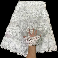 Free shipping (5yards/pc) pure white African wedding lace fabric 3D flowers appliqued French net lace fabric beads stones FLV19