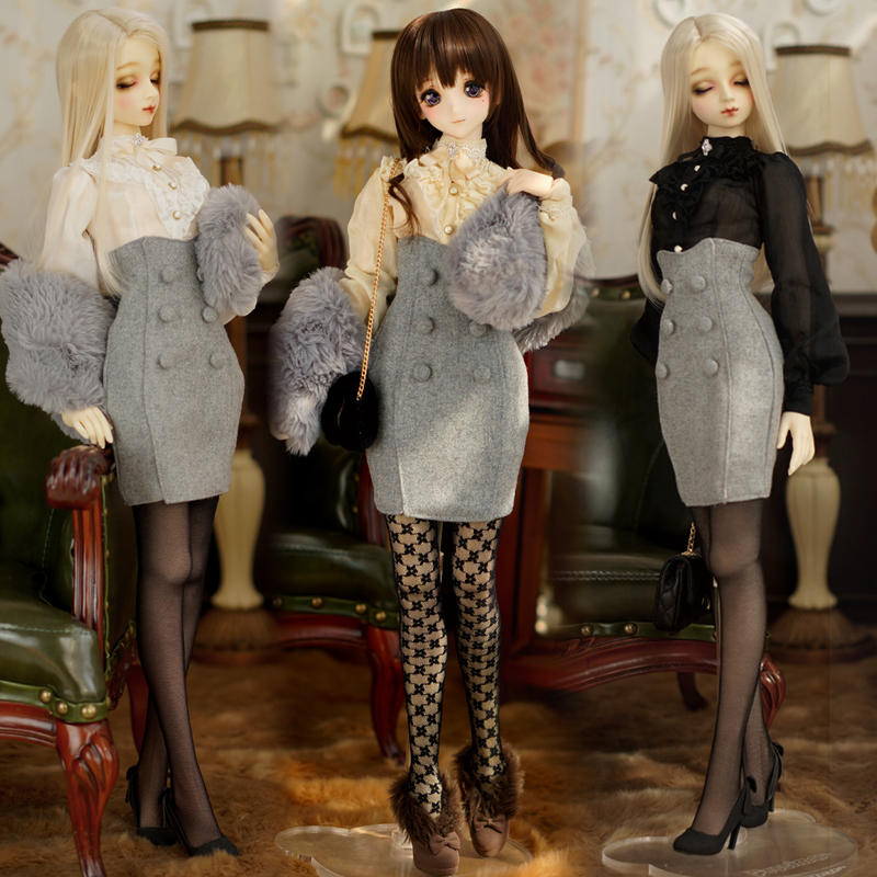 [Agent]NEW Retro British style Rice white /Black/White Shirt+Bust skirt Suit 1/3 DD SD SD16 SDGR BJD Doll Clothes new lovely girl pink white thick bottom shoes 1 3 dd sd bjd doll shoes