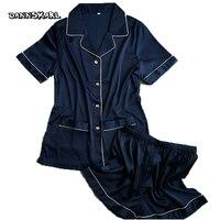 قمم قصيرة الأكمام + السراويل القصيرة منامة مجموعات منامة الحرير الحرير نوم وردي أزرق أبيض اللون المرأة الصيف النوم 2 قطعة/المجموعة