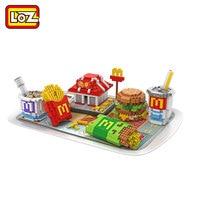 LOZ Diamond Blocks Fast Food Delicious McDonald Food House Hamburger Coke Fries Assembly Model Nano Bricks Micro Toys DIY 9391