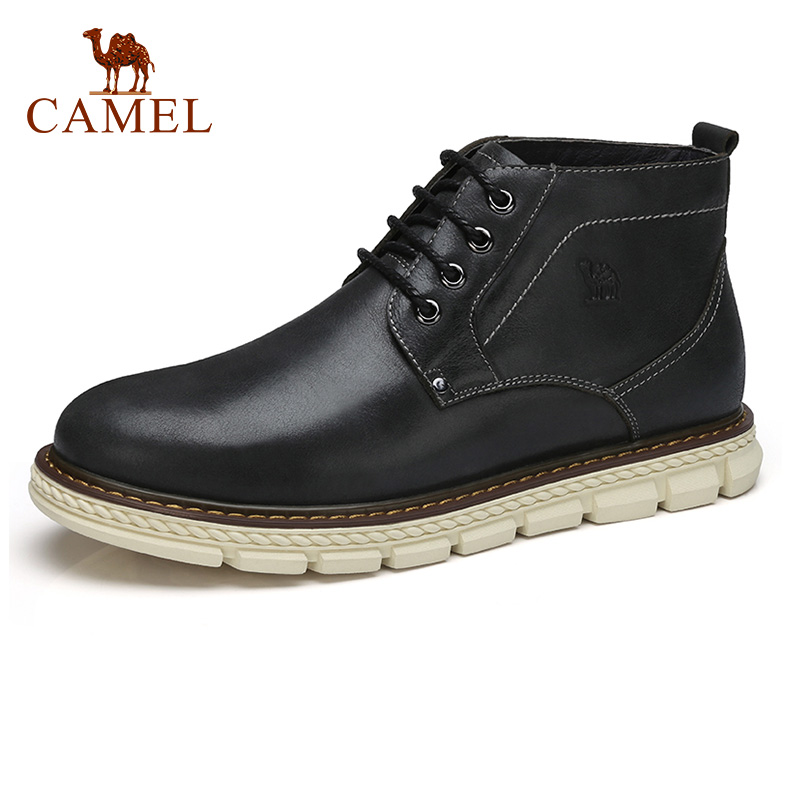 CAMEL Men's Boots Autumn and Winter Casual Man Genuine Leather Boot Youth Comfortable Male Men Tide High-top Knitting Botas