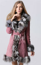 Fashion Womens Genuine Leather Coat with Fox Fur Trim Parka Winter Warm Leather Overcoat Long Coat with Waistband LX00123