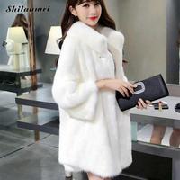 Luxury Women Faux Fur Coat Female White Artificial Fur Coat With Fur Collar 2018 Plus Size Winter Warm Outerwear Black 3xl 4xl