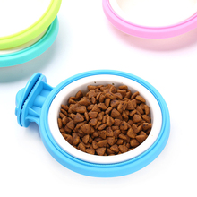 Removable Pet Hanging Bowl Puppy Cat Cage Food Water Feeder Colorful Plastic Container Bowls Feeding Supplies