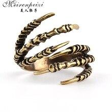 Новое модное кольцо, латунное кольцо на палец в стиле панк-рок для мужчин и женщин, байкерское кольцо, винтажные готические украшения, бронзовое кольцо в виде когтей дракона