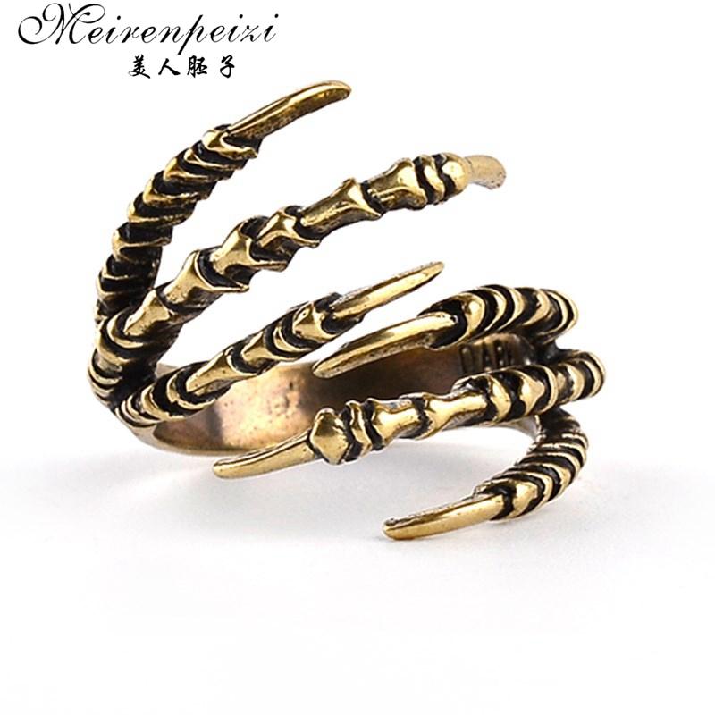 Nieuwe mode ring messing vinger knokkel punk rock mannen vrouwen biker ring vintage gothic sieraden bronskleur Dragon Claw Ring