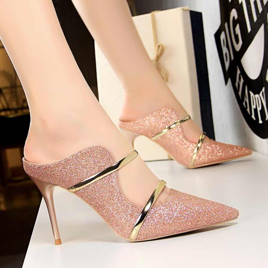 Delle Donne di modo di Pompe A Spillo Tacchi Alti Pantofole Donne Sexy del Locale Notturno Scarpe Da Donna di Estate Paillettes Bianco Scarpe Più Il Formato 35- 40