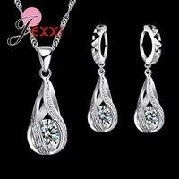 JEXXI 2017 New Water Drop CZ Jewelry Sets 925 Sterling Silver Necklace Earrings Wedding Jewelry For