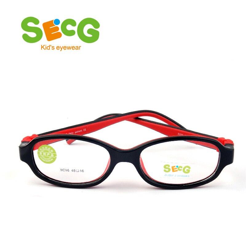 SECG No Screw Optical Glasses Frame For Kids Children Frames Eyewear Soft Ultralight Toddler's Myopia Boys Girls Rubber