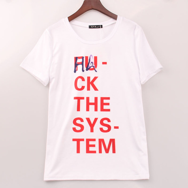 2016 Rock Cool T Shirt Women Hack The System Printed