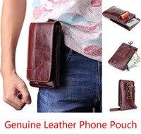 for LG Q8 Q6 V30 K20 G6 Stylo 3 Plus K7 Grace LTE K10 V20 Pouch Genuine Cow Leather Mini Casual Men's Waist Belt case Phone bag
