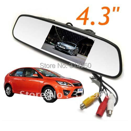 """4.3"""" TFT Screen LCD Car Rearview Mirror Monitor For Car Rear View DVR Camera Free Shipping"""