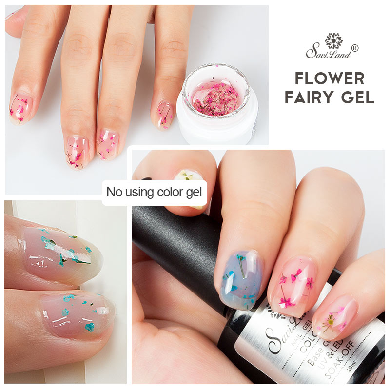 Saviland Floral Uv Gel Varnish Lucky Gel Paint Dried Flowers Nail