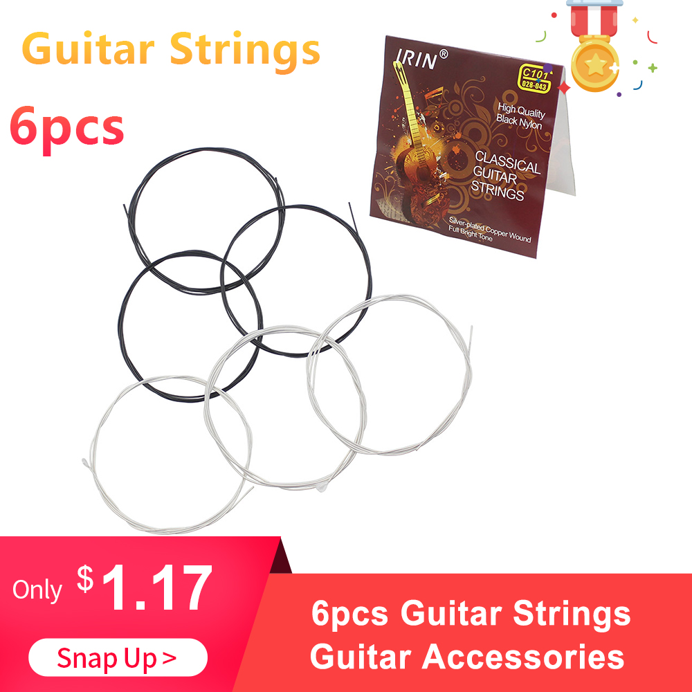 6pcs Classical Guitar Strings String Set Black Nylon Core Silver-Plated Copper Wound 1st-6th(.028-.043)