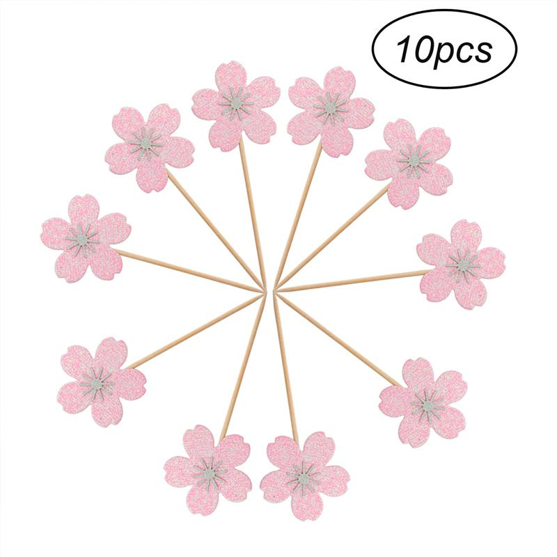 10pcs Pink Cherry Blossom Cake Decoration Cupcake Toppers ...