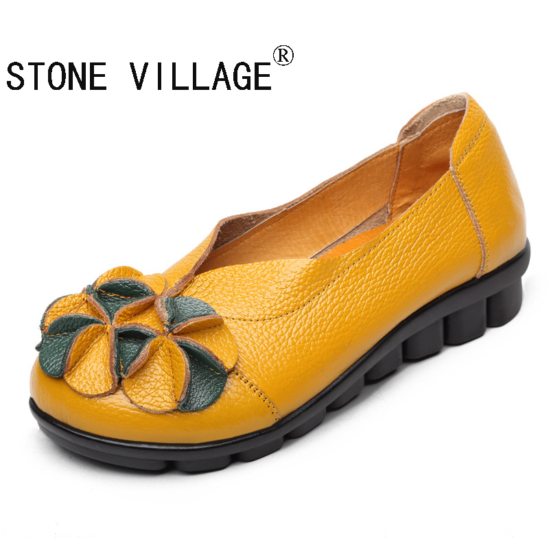 ФОТО  New Arrival 2017 Fashion Women Autumn And Summer Genuine Leather Flats Autumn Leather Shoes Flats Fashion Women's Flats