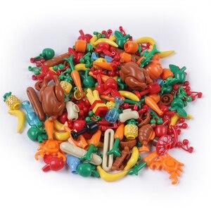 Image 2 - Stad Vrienden Accessoires Onderdelen Bouwsteen Fruit Brood Vis Voedsel Banaan Cherry Voor Legoe Stad Blokken Bricks Speelgoed Voor Kinderen