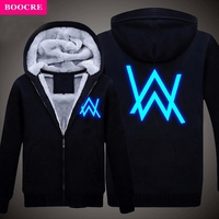 BOOCRE New Winter Jackets and Coats Faded Alan Walker hoodie Luminous Thick Zipper Men Sweatshirts