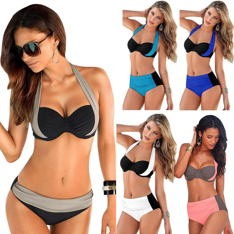2018 New Sexy Bikinis Women Swimsuit High Waisted Bathing Suits Swim Halter Push Up Bikini Set Plus Size Swimwear Beach Wear 3XL da hai 2017 new sexy bikinis women swimsuit high waisted bathing suits swim halter push up bikini set plus size swimwear 3xl