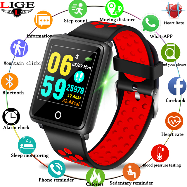 LIGE 2019 New Bluetooth Sport Smart Bracelet Fitness Smart Watch Heart Rate Blood Oxygen Monitor Pedometer Waterproof Wristband