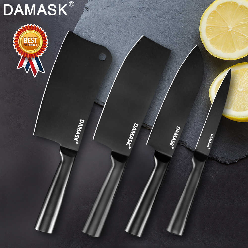 Damask 4Cr14mov Stainless Steel Knife Santoku Chopping Nakiri Utility Chef Kitchen Knife Multi-functional Cooking Accessories