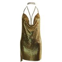 Yeni varış ünlü seksi elbise sparkly halter backless metal elbiseler Kendall Jenner 'ın. Doğum Günü Kıyafetler 2017