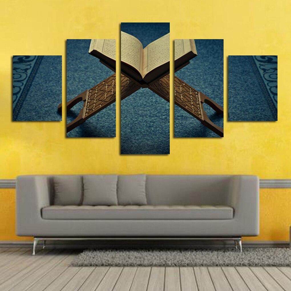 5pcs/set Bookshelf Spray Printing Canvas Oil Painting Blue ...