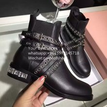 Runaway Jeweled block heel Crystal Heel Booties 2016 fall multi buckled straps martin boots black leather women's combat boots