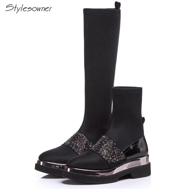 Mujer Tacón Calcetines Del Elástico 2018 Patchwork Boots long Redondo Pie Dedo Stylesowner Bling Mujeres Boots Short Calcetín Botas Nuevas Alto Plataforma Cremallera Las U8wp4wqFa