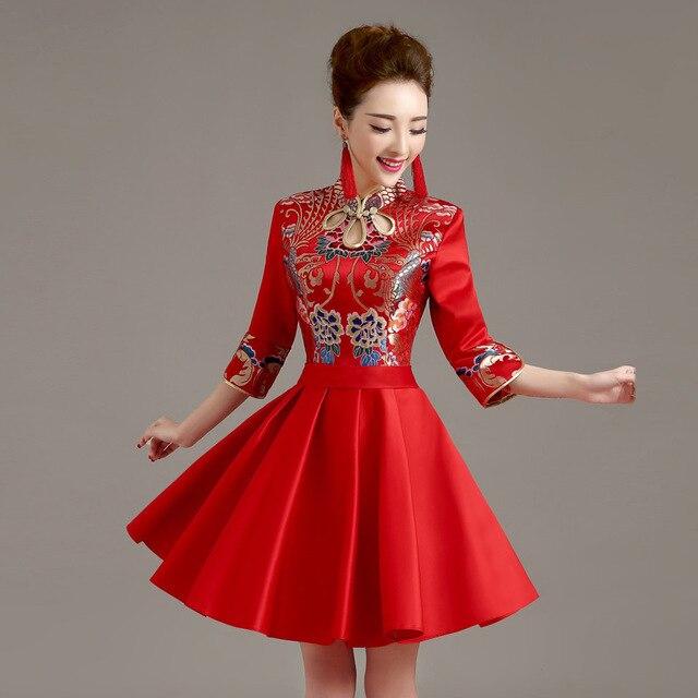 2016 Summer Dress Vintage Short Cheongsam Dress Red Bride Toast Clothing Wedding Qipao Chinese Traditional Qi Pao