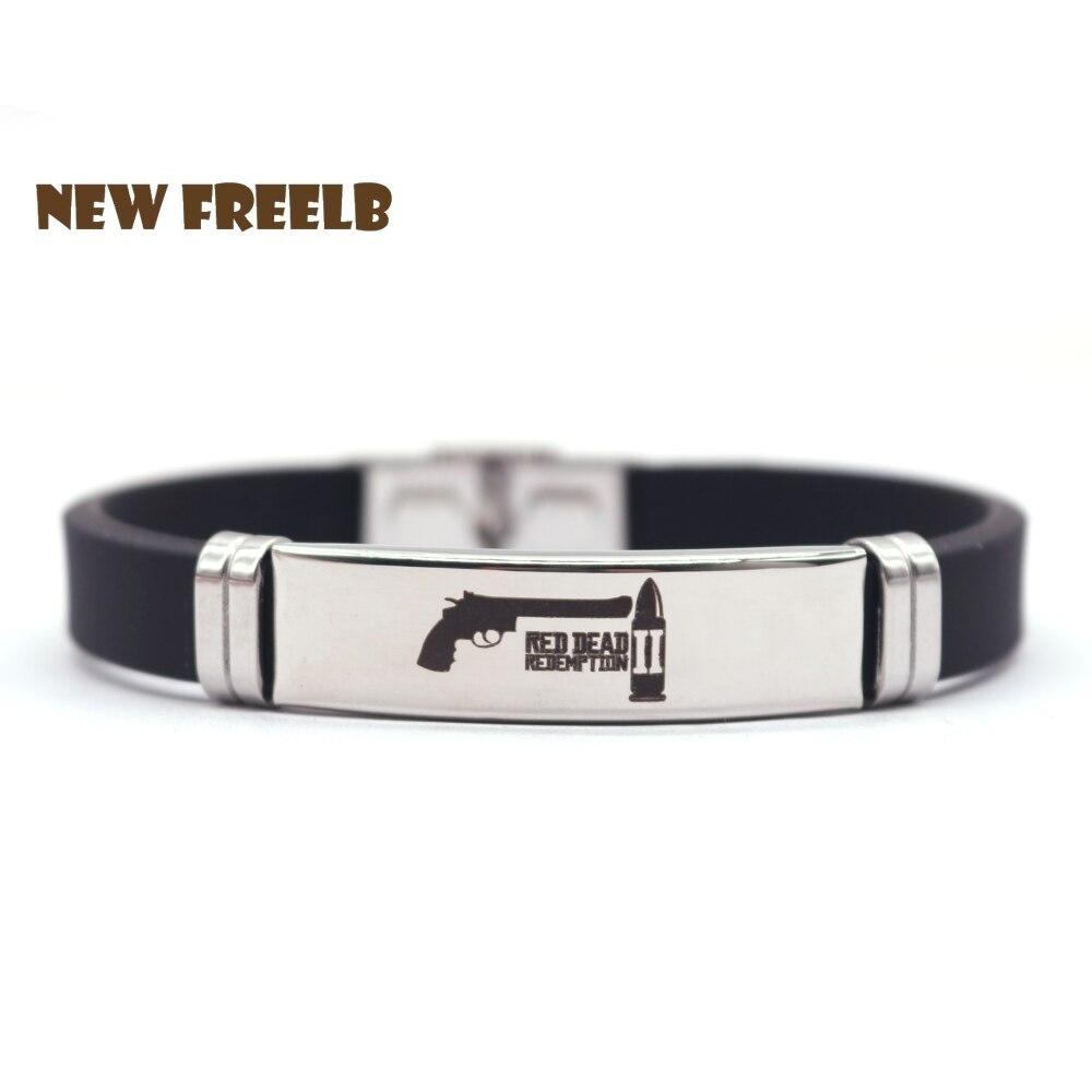 41aa40557b67 Nuevo juego de Red Dead Redemption 2 pulseras de silicona negro colgante de  acero inoxidable de alta calidad