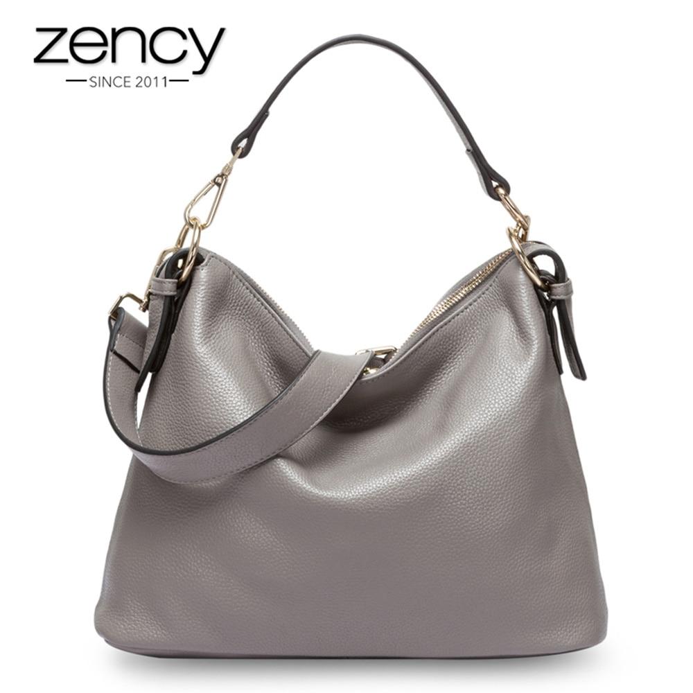 Zency Fashion Grey Women Shoulder Bag 100 Genuine Leather Handbag New Style Female Messenger Crossbody Purse