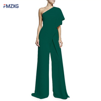6 Colors Formal Jumpsuits Romper Women Overall Sexy One Shoulder Bodycon Tunic Jumpsuit Party Femme 2018 Elegant Wide Leg Pant