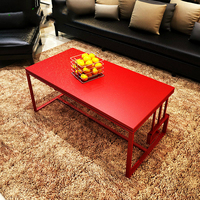 Chinese iron long simple fashion large sized apartment living room wood glass with metal coffee tea table