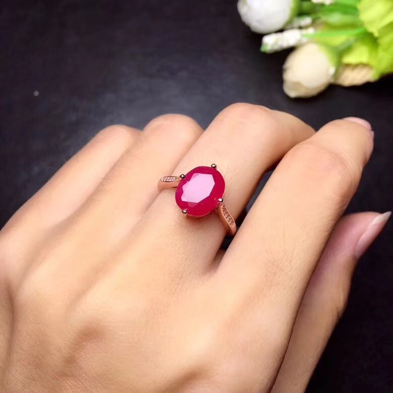 Ruby ring Free shipping ruby 925 sterling silver Fine handworked jewelry Finger rings Gem 8*10mm
