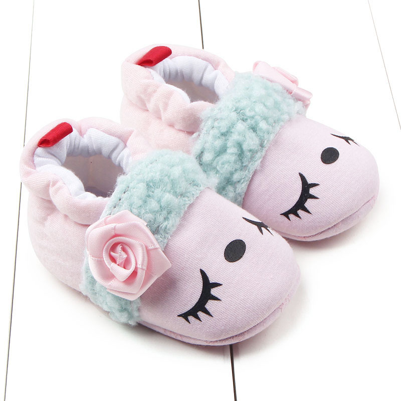 Sweet Newborn Baby Girls Cotton Shoes Pink Sheep Blue Hippo Winter Warm First Walkers Soft Soled Infant Toddler Kids Shoes