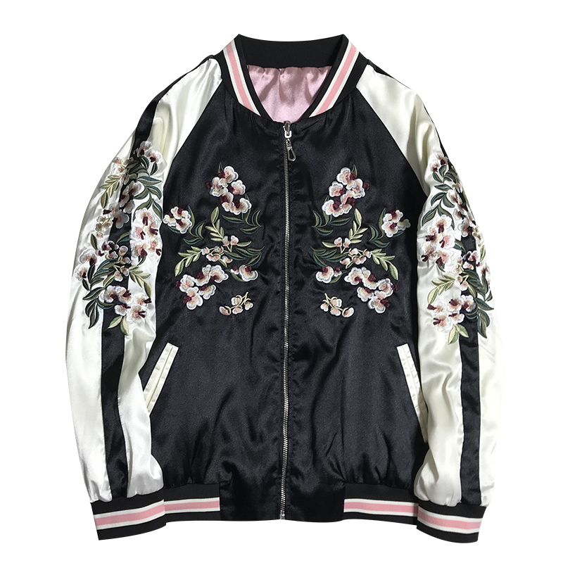 LYFZOUS 2019 Spring Autumn Floral Crane Embroidery Bomber   Jacket   Women Harajuku Pilot   Basic     Jacket   Casual Bf Style   Jackets   Coat