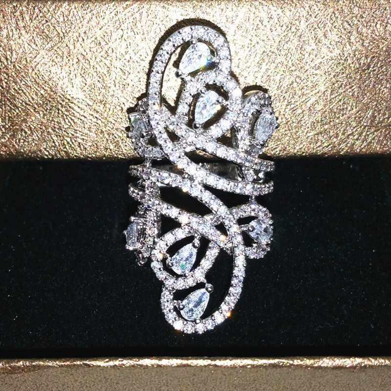 หรูหราเครื่องประดับผู้หญิงแหวน Widtth 30 มม. 925 เงินสเตอร์ลิง 218 pcs AAAAA zircon cz หญิงหมั้นแหวน