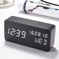 LED Wooden Clock For Kids Bedside Alarm Clock Voice Control Electronic Desk Table Clock LED Digital Watch no Radio