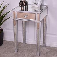 Giantex зеркальные акцент тумбочка столик роскошные современные прикроватные тумбочки, шкаф для хранения с ящиком Кофе Таблица HW56404