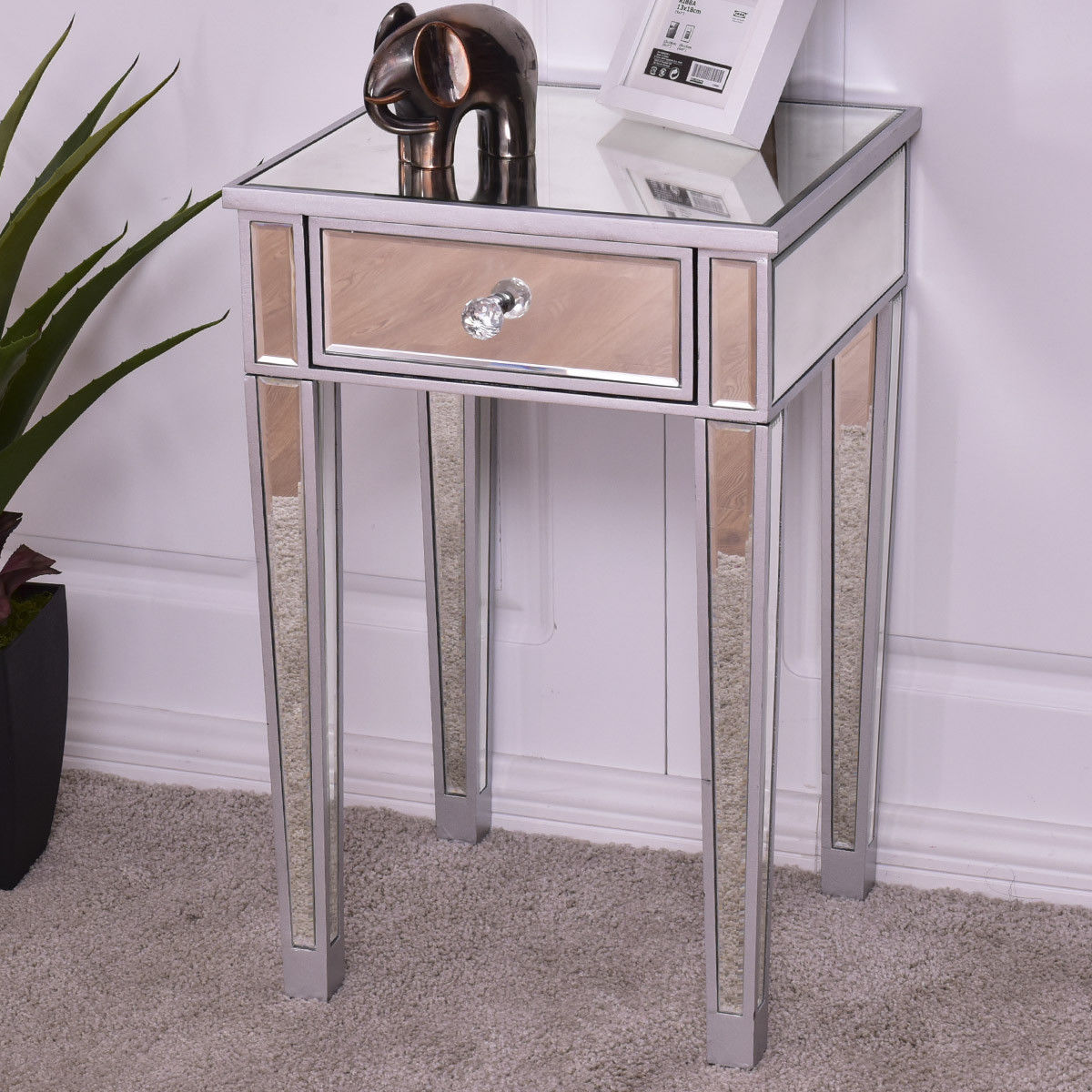 Giantex Mirrored Accent Table Nightstand End Table Luxury