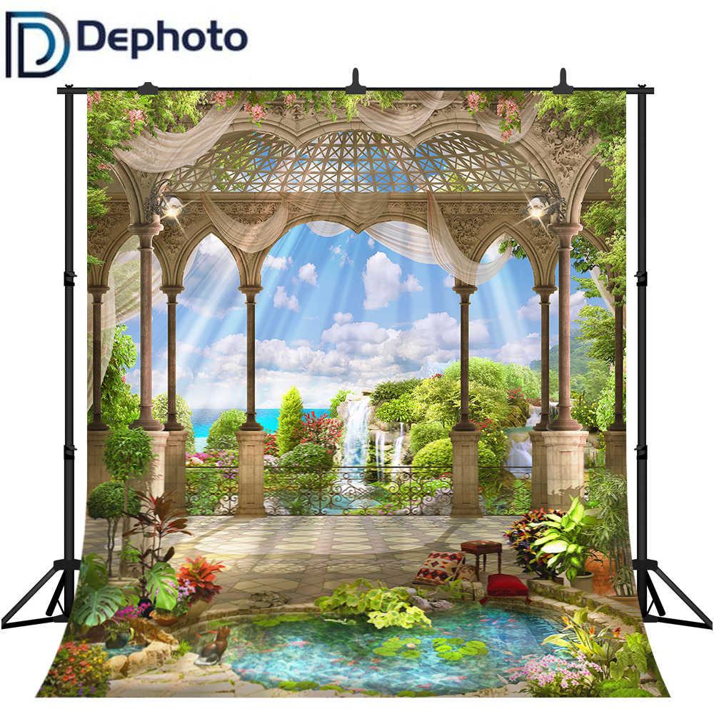 Dephoto 海辺宮殿パビリオンガーデン風景写真写真スタジオの背景ビニールカスタム写真の背景の小道具